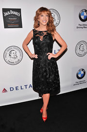Kathy Griffin looked chic as every in a classic LBD that featured floral embellishments and a sheer neckline.