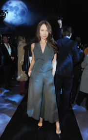 Olga Kurylenko donned a dotted vest for the Temperley London fashion show.