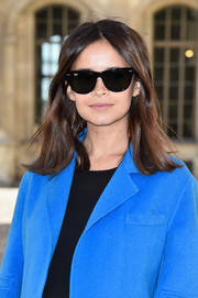 Miroslava Duma arrived for the Dior fashion show wearing a pair of classic Ray-Ban wayfarers.