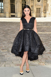 Isis Valverde cut an exaggeratedly sweet figure in a quilted fit-and-flare LBD during the Dior fashion show.