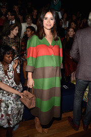 Miroslava Duma was eye candy in a colorful coat during the Valentino fashion show.