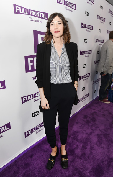 Carrie Brownstein teamed a black suit with a striped button-down for the 'Full Frontal with Samantha Bee' FYC event.