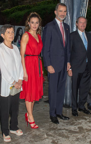 Queen Letizia of Spain looked effortlessly elegant in a sleeveless red cocktail dress by Carolina Herrera at the Fundacion Princesa de Girona Awards 2018.