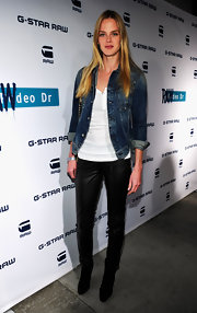 Shannan Click was a classic beauty at the G-Star opening in a traditional jean jacket and white T-shirt combination.