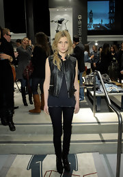 Clemence Poesy showcased her edgier side at the opening of G-Star's Rodeo Drive store in a black leather vest.