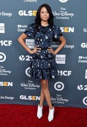 Storm Reid kept it youthful in a Self-Portrait star-print mini dress with a tiered skirt at the GLSEN Respect Awards.