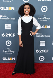 Yara Shahidi layered a black Tory Burch gown over a white shirt for the GLSEN Respect Awards.