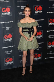 Lily Collins looked ultra girly in a sage-green off-the-shoulder dress with black bow detailing at the 2018 GO Campaign Gala.