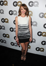 Jayma Mays paired a black and white Paule Ka dress with strappy Jimmy Choo Lance Sandals. The delicate straps of the heels create a star pattern.
