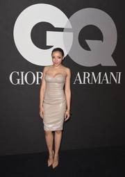 Tinashe oozed sex appeal in a tight-fitting nude leather dress during the GQ and Giorgio Armani Grammy after-party.
