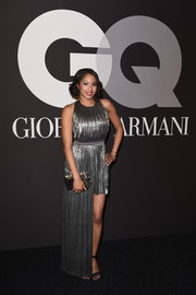 Alicia Quarles looked like a modern-day goddess in her asymmetrical silver Grecian gown during the GQ and Giorgio Armani Grammy after-party.
