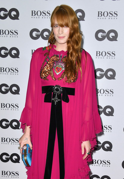 More Pics of Florence Welch Maxi Dress (1 of 6) - Florence Welch Lookbook - StyleBistro [clothing,carpet,hairstyle,pink,red carpet,fashion,dress,fashion design,magenta,outerwear,gq men of the year awards,florence welch,gq men of the year awards,england,london,tate modern,red carpet arrivals]