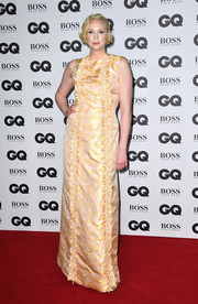 Gwendoline Christie opted for a vintage-inspired metallic ruffle gown by The Vampire's Wife for her GQ Men of the Year Awards look.