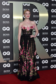 Elle Fanning looked divine in a flower-festooned corset gown by Dolce & Gabbana at the 2019 GQ Men of the Year Awards.