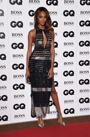 Jourdan Dunn added more shimmer with a pair of silver Giuseppe Zanotti pumps.