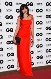 Daisy Lowe brought a bright pop to the GQ Men of the Year Awards with this scarlet tie-shoulder column dress by The Vampire's Wife.