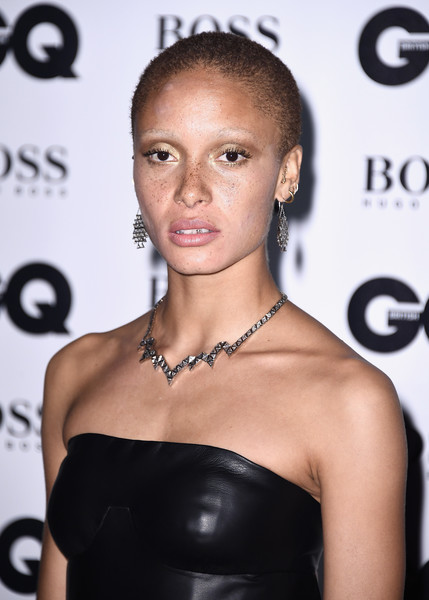 More Pics of Adwoa Aboah Sterling Collar Necklace (4 of 4) - Sterling Collar Necklace Lookbook - StyleBistro [hair,face,hairstyle,shoulder,beauty,eyebrow,lip,skin,dress,fashion,adwoa aboah,gq men of the year awards,england,london,tate modern,red carpet arrivals]