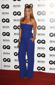 Louise Redknapp chose a strapless blue jumpsuit for her red carpet look during the GQ Men of the Year Awards.