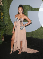 Karrueche Tran paired her dress with the iconic Jimmy Choo Lance sandals, in silver.