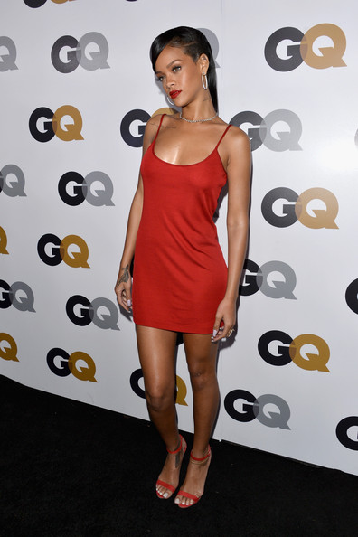 Rihanna In A Red Slip Dress