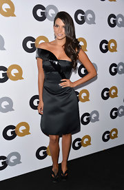 Genesis Rodriguez stepped out at the GQ Men of the Year party wearing a satin LBD and a pair of platform pumps.