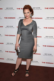 Erin Cummings showed of her curves in this gray dress, which she wore to 'The Iceman' screening in NYC.