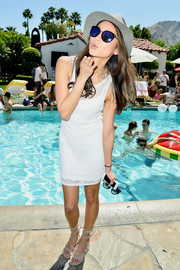 Jamie Chung wore a simple yet cool white tank dress to the Guess Hotel party.
