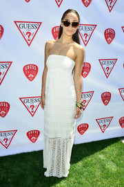 Cara Santana looked simply lovely in a strapless white maxi dress during the Guess Hotel party.