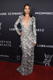 Shanina Shaik went for sexy glamour in an embroidered J. Mendel gown with a deep-V neckline at the Angel Ball 2016.