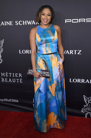 Alicia Quarles charmed in a painterly print gown at the Angel Ball 2016.