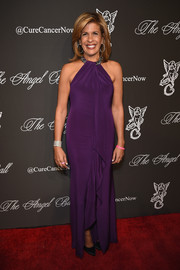 Hoda Kotb worked the Angel Ball red carpet in a drapey purple halter gown.