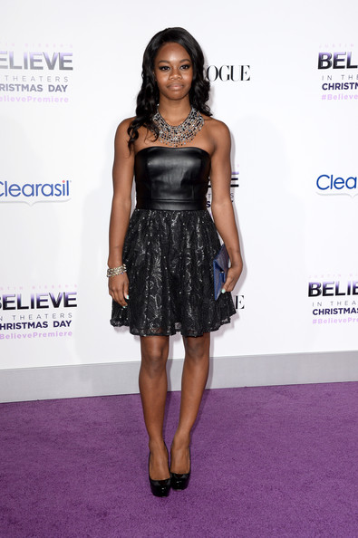 Gabrielle Douglas Strapless Dress [justin biebers believe,clothing,dress,cocktail dress,shoulder,fashion,hairstyle,fashion model,carpet,premiere,footwear,arrivals,gabby douglas,california,los angeles,regal cinemas l.a. live,open road films,premiere,premiere]