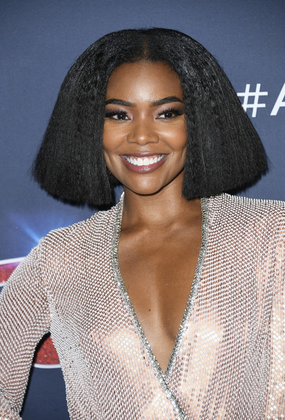 Gabrielle Union Bob [americas got talent,season,hair,hairstyle,eyebrow,lip,beauty,black hair,long hair,lace wig,brown hair,s-curl,gabrielle union,red carpet,california,hollywood,dolby theatre,finale]