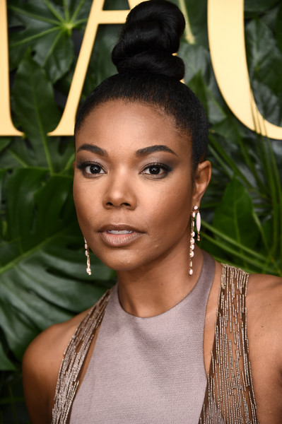 Gabrielle Union Hair Knot [hair,face,hairstyle,lady,eyebrow,black hair,beauty,lip,head,forehead,piaget celebrates independent film with the art of elysium,california,los angeles,chateau marmont,gabrielle union]