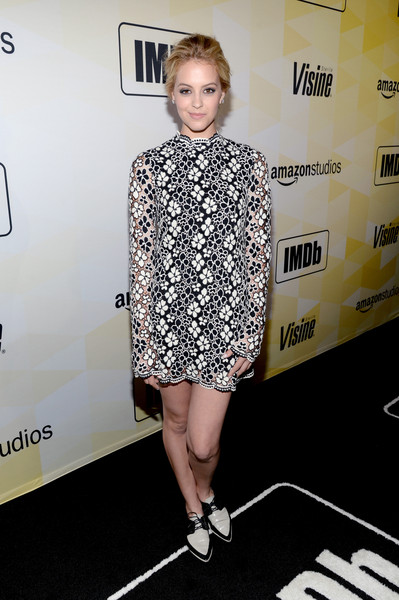 Gage Golightly Mini Dress [clothing,shoulder,dress,fashion,hairstyle,footwear,yellow,cocktail dress,premiere,fashion model,visine,25th anniversary party co-hosted,gage golightly,west hollywood,california,sunset tower hotel,imdb,amazon studios,25th anniversary party]