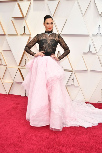 Gal Gadot Bodysuit [red carpet,carpet,white,clothing,flooring,fashion,pink,red,dress,shoulder,arrivals,gal gadot,hollywood,highland,california,92nd annual academy awards,gal gadot,wonder woman,hollywood highland,stock photography,academy awards,actor,getty images,style,photograph]