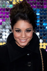 Vanessa Hudgens wore her hair in a voluminous updo at the Galeria Melissa flagship store opening in NYC.