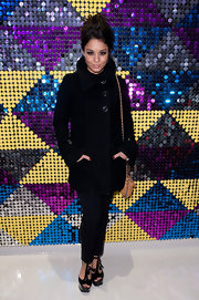 Vanessa Hudgens donned a black leather coat to the Galeria Melissa flagship store opening.