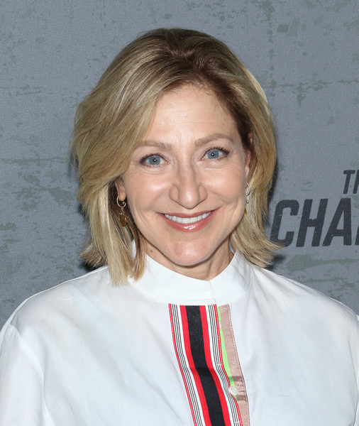 Edie Falco wore her hair in a bob with flipped ends at the New York premiere of 'The Game Changers.'