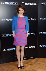 Gemma Whelan's electric blue cardigan added a preppy touch to her funky look.