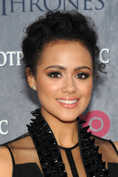 Nathalie Emmanuel pulled her curls back into a classic updo for the 'Game of Thrones' season 4 premiere.