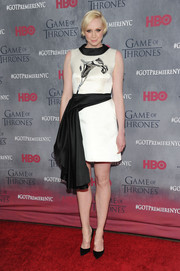 Gwendoline Christie looked chic and modern at the 'Game of Thrones' season 4 premiere in a black-and-white Giles cocktail dress with draped detail.