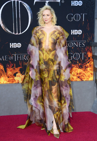 More Pics of Gwendoline Christie Pointy Flats (3 of 12) - Flats Lookbook - StyleBistro [game of thrones,season,red carpet,carpet,clothing,flooring,premiere,hairstyle,fashion,dress,costume,long hair,gwendoline christie,new york city,premiere]