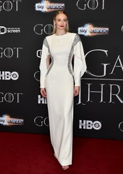 Sophie Turner looked statuesque and sophisticated in a white Louis Vuitton column dress with silver trim at the 'Game of Thrones' season 8 screening in Belfast.