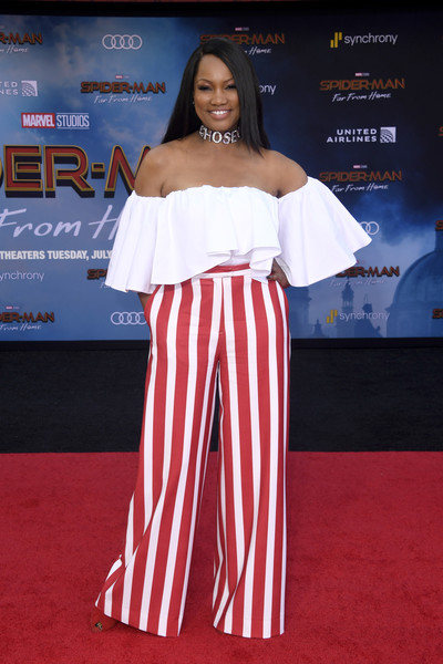 Garcelle Beauvais Off-the-Shoulder Top [red carpet,clothing,carpet,shoulder,premiere,fashion,flooring,joint,dress,event,arrivals,garcelle beauvais,spider-man far from home,tcl chinese theatre,hollywood,california,sony pictures,premiere,premiere]