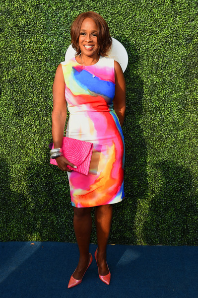 Gayle King Woven Clutch [clothing,dress,fashion,carpet,cocktail dress,footwear,magenta,day dress,flooring,style,borough,usta billie jean king national tennis center,queens,new york city,annual usta foundation opening night gala,gayle king]