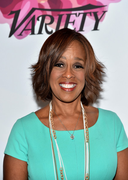 Gayle King Layered Razor Cut [hair,hairstyle,turquoise,blond,bob cut,smile,feathered hair,style,bangs,premiere,gayle king,power of women: new york,variety,new york city,cipriani midtown]