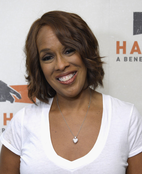 Gayle King Short Wavy Cut [hand in hand: a benefit for hurricane relief,handout photo,hair,hairstyle,neck,long hair,black hair,smile,layered hair,gayle king,caption,new york,room,abc news,good morning america times square studio]