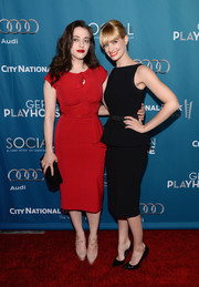 Kat Dennings brought a vintage vibe to the Backstage at the Geffen Gala with this fitted red dress by Stop Staring.