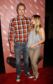Dax Shepard's checkered button-down shirt was a bright pop of color.